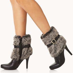 Shoes - Faux Fur Black Black Heel Boots